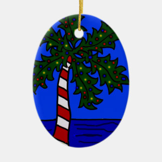Tropical Christmas Palm Ceramic Ornament
