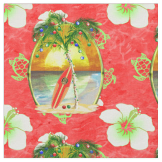 Tropical Christmas Palm Trees Fabric