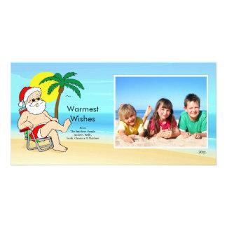 Tropical Christmas Santa Family Photo Card. Customized Photo Card