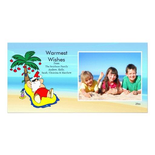 Tropical Christmas Santa Family Photo Card.