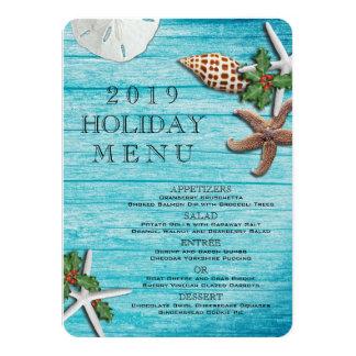 "Tropical Christmas Sea Life Blue Boards Menu 4.5"" X 6.25"" Invitation Card"