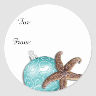 Tropical Christmas Starfish Gift Stickers
