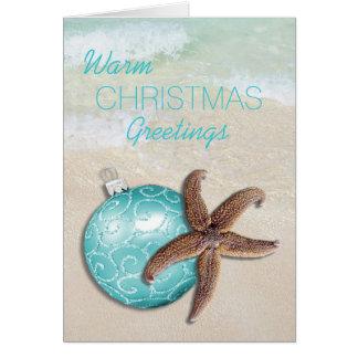 Tropical Christmas Starfish Ornament Beach Card
