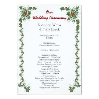 Tropical Christmas Wedding Program Starfish Holly 5x7 Paper Invitation Card