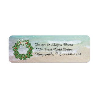 Tropical Christmas Wreath Ocean Skinny Address
