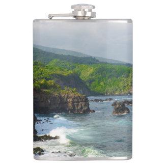 Tropical Cliffs in Maui Hawaii Hip Flask