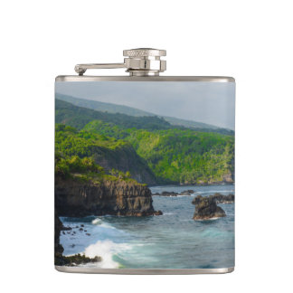 Tropical Cliffs in Maui Hawaii Hip Flask
