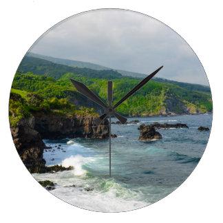 Tropical Cliffs in Maui Hawaii Large Clock