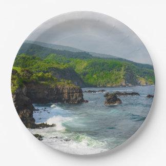 Tropical Cliffs in Maui Hawaii Paper Plate