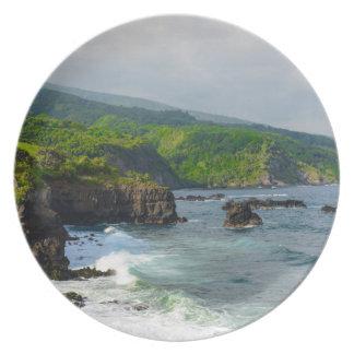 Tropical Cliffs in Maui Hawaii Plate