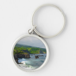 Tropical Cliffs in Maui Hawaii Silver-Colored Round Keychain