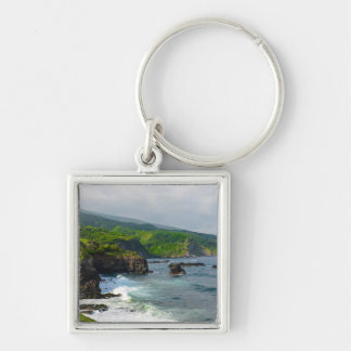 Tropical Cliffs in Maui Hawaii Silver-Colored Square Keychain