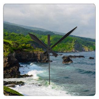 Tropical Cliffs in Maui Hawaii Square Wall Clock