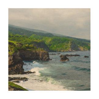Tropical Cliffs in Maui Hawaii Wood Canvas