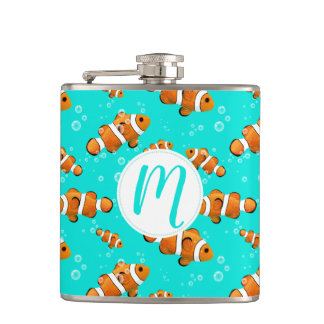 Tropical Clownfish & Bubbles Pattern Hip Flask