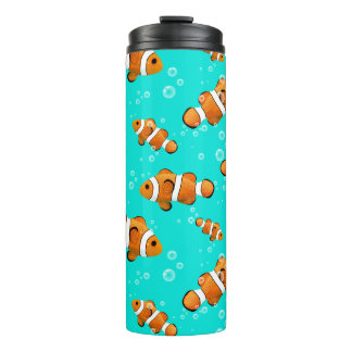 Tropical Clownfish & Bubbles Pattern Thermal Tumbler