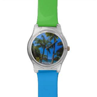Tropical coastline 2 wristwatches