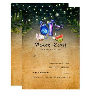Tropical Cocktails Beach Wedding RSVP Card