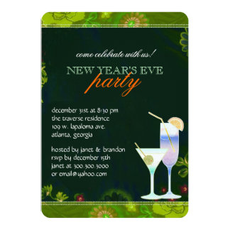 Tropical Cocktails New Years Eve Party Card
