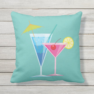 Tropical Cocktails on Turquoise - Outdoor Outdoor Pillow