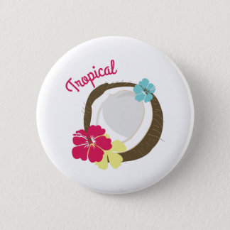 Tropical Coconut 2 Inch Round Button