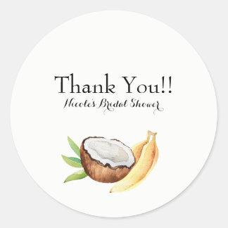 Tropical Coconut & Bananas Fruit Luau Party Classic Round Sticker