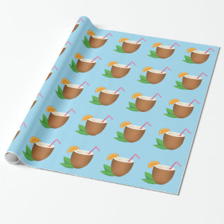 Tropical Coconut Drink Pattern Wrapping Paper