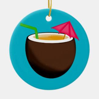 Tropical Coconut Drink Round Ceramic Ornament