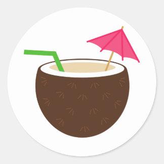 Tropical Coconut Drink Round Sticker