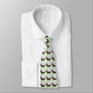 tropical coconut. Light green background Tie