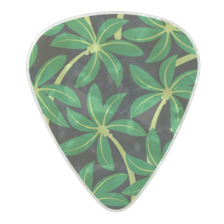 Tropical coconut palm tree pearl celluloid guitar pick