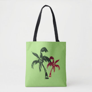 Tropical coconut palms on calming green tote bag