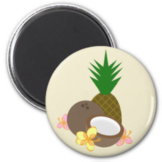 Tropical Coconut Pineapple Hibiscus Magnet