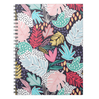 Tropical Collage Palm Pattern Spiral Notebook