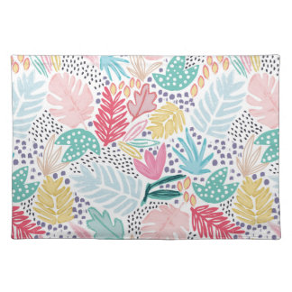 Tropical Collage White Pattern Placemat