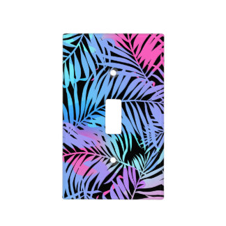 Tropical colored palms light switch cover