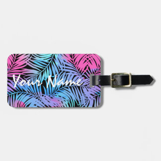 Tropical colored palms luggage tag