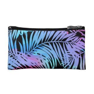 Tropical colored palms makeup bag