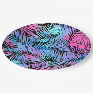 Tropical colored palms paper plate