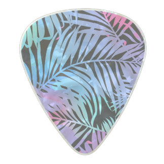 Tropical colored palms pearl celluloid guitar pick