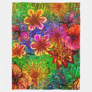 Tropical Colorful Aloha  Exotic Jungle Flowers Fleece Blanket