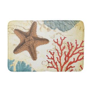 Tropical Colorful Caribbean Starfish and Coral Bathroom Mat