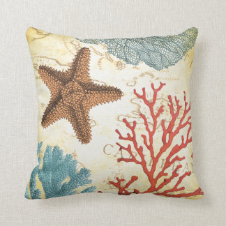 Tropical Colorful Caribbean Starfish and Coral Throw Pillow