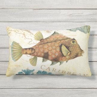 Tropical Colorful Caribbean Yellow Fish and Coral Lumbar Pillow