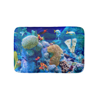Tropical Colorful Undersea Coral Reef Bath Mat