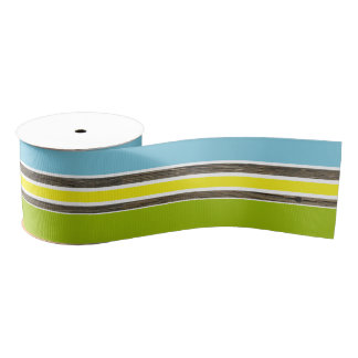 Tropical Colors Stripes Green Yellow Blue Grosgrain Ribbon