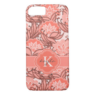 Tropical Coral Floral Pattern with Monogram iPhone 8/7 Case