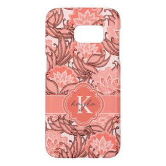 Tropical Coral Floral Pattern with Monogram Samsung Galaxy S7 Case