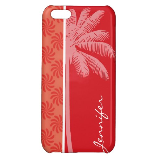 Tropical Coral & Red Swirl iPhone 5C Covers