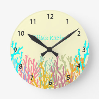 Tropical Coral Sea Themed Wall Clock With Numbers